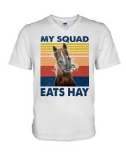 my squad eats hay V-Neck T-Shirt tile