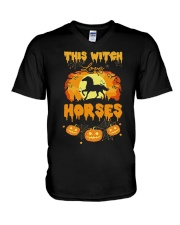 This Witch Love Horses V-Neck T-Shirt thumbnail