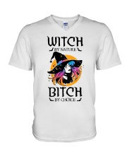 Witch By Nature Bitch By Choice V-Neck T-Shirt thumbnail