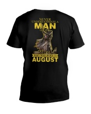 NEVER UNDERESTIMATE A MAN OF FAITH - AUGUST V-Neck T-Shirt thumbnail