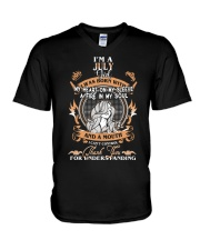 JULY GIRL WAS BORN WITH MY HEART ON MY SLEEVE V-Neck T-Shirt thumbnail