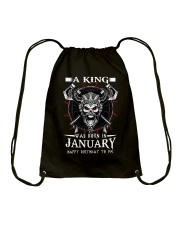 A KING WAS BORN IN JANUARY Drawstring Bag thumbnail