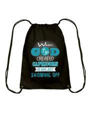 WHEN GOD REATED CAPRICORN Drawstring Bag thumbnail