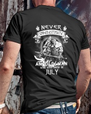 NEVER UNDERESTIMATE AN OLD MAN WAS BORN IN JULY Classic T-Shirt lifestyle-mens-crewneck-back-2