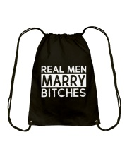 REAL MEN MARRY BITCHES Drawstring Bag tile