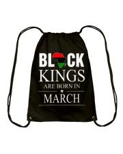 BLACK KINGS ARE BORN IN MARCH Drawstring Bag thumbnail