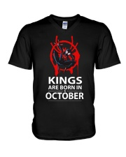KINGS ARE BORN IN OCTOBER V-Neck T-Shirt thumbnail