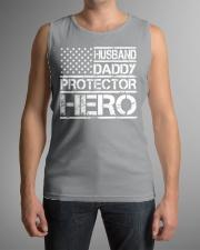 HUSBAND DADDY PROTECTOR HERO Sleeveless Tee lifestyle-unisex-tank-front-1