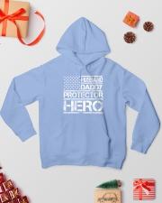 HUSBAND DADDY PROTECTOR HERO Hooded Sweatshirt lifestyle-holiday-hoodie-front-2
