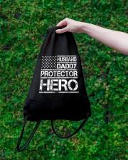HUSBAND DADDY PROTECTOR HERO Drawstring Bag lifestyle-drawstringbag-front-3