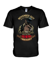 NOVEMBER GUY WITH THREE SIDES V-Neck T-Shirt thumbnail