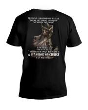 DEVIL WHISPERED - WARRIOR OF CHRIST V-Neck T-Shirt back