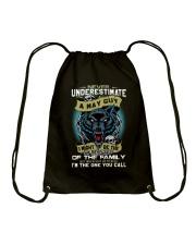 NEVER UNDERESTIMATE A MAY GUY Drawstring Bag thumbnail