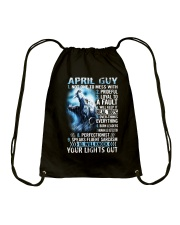 APRIL GUY NOT ONE TO MESS WITH Drawstring Bag thumbnail