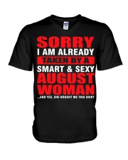 I AM ALREADY TAKEN BY A SMART SEXY AUGUST WOMAN V-Neck T-Shirt tile