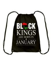 BLACK KINGS ARE BORN IN JANUARY Drawstring Bag thumbnail