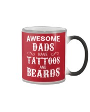 AWESOME DADS HAVE TATTOOS AND BEARDS Color Changing Mug color-changing-right
