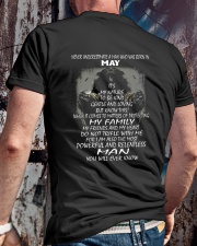 NEVER UNDERESTIMATE A MAN WHO WAS BORN IN MAY Classic T-Shirt lifestyle-mens-crewneck-back-2