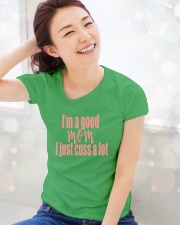 IM A GOOD MOM Ladies T-Shirt lifestyle-holiday-womenscrewneck-front-1