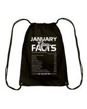 JANUARY GUY FACTS Drawstring Bag tile