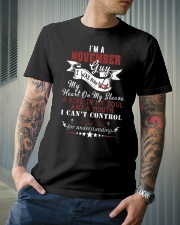 NOVEMBER GUY WAS BORN WITH MY HEART ON MY SLEEVE Classic T-Shirt lifestyle-mens-crewneck-front-6