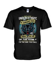 NEVER UNDERESTIMATE A JANUARY GUY V-Neck T-Shirt thumbnail