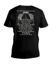 NEVER UNDERESTIMATE A MAN WHO WAS BORN IN APRIL V-Neck T-Shirt thumbnail