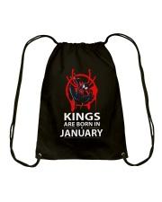 KINGS ARE BORN IN JANUARY Drawstring Bag thumbnail