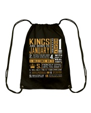 KINGS ARE BORN IN JANUARY Drawstring Bag tile