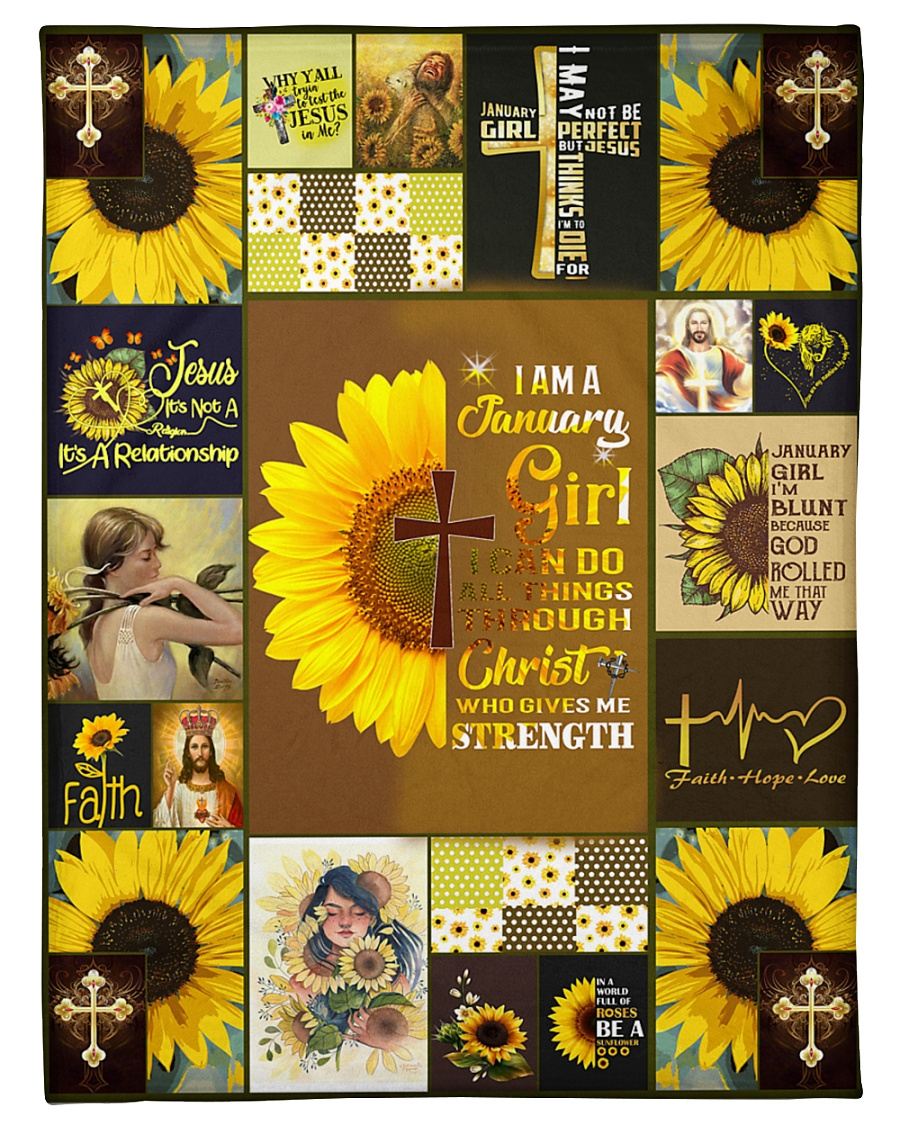 """JANUARY GIRL CAN DO ALL THINGS THROUGH CHRIST Small Fleece Blanket - 30"""" x 40"""""""