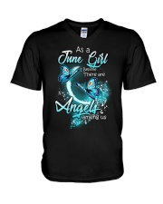 JUNE GIRL BELIEVE THERE ARE ANGELS AMONG US V-Neck T-Shirt thumbnail