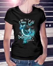 JUNE GIRL BELIEVE THERE ARE ANGELS AMONG US Ladies T-Shirt lifestyle-women-crewneck-front-7
