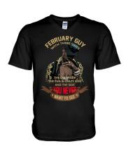 FEBRUARY GUY WITH THREE SIDES V-Neck T-Shirt thumbnail