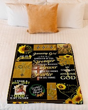"""JANUARY GIRL - SHE IS DAUGHTER OF GOD Small Fleece Blanket - 30"""" x 40"""" aos-coral-fleece-blanket-30x40-lifestyle-front-04"""