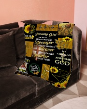 """JANUARY GIRL - SHE IS DAUGHTER OF GOD Small Fleece Blanket - 30"""" x 40"""" aos-coral-fleece-blanket-30x40-lifestyle-front-05"""