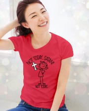 FOLLOW JESUS - WARRIOR OF CHRIST Ladies T-Shirt lifestyle-holiday-womenscrewneck-front-1