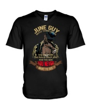 JUNE GUY WITH THREE SIDES V-Neck T-Shirt thumbnail