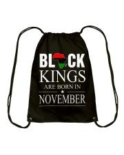 BLACK KINGS ARE BORN IN NOVEMBER Drawstring Bag thumbnail