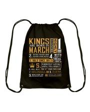 KINGS ARE BORN IN MARCH Drawstring Bag thumbnail