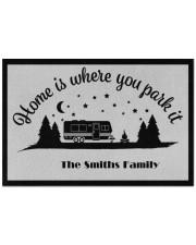 """Custom name doormat - Home is where you park it 16 Doormat 22.5"""" x 15""""  front"""