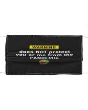 WARNING does not protect from the pandemic mask Cloth face mask front