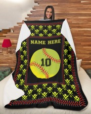 "Personalized Softball Large Sherpa Fleece Blanket - 60"" x 80"" aos-sherpa-fleece-blanket-60x80-lifestyle-front-11"