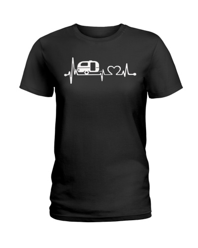 happy camper heartbeat tshirt-
