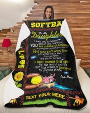 """Personalized Softball - To My Danghter Large Sherpa Fleece Blanket - 60"""" x 80"""" aos-sherpa-fleece-blanket-60x80-lifestyle-front-11"""
