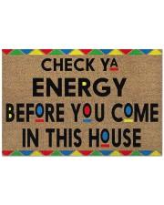 "Funny doormat - check Ya energy before you come in Doormat 22.5"" x 15""  front"