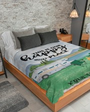 """Personalized Camping Blanket 7 Large Sherpa Fleece Blanket - 60"""" x 80"""" aos-sherpa-fleece-blanket-lifestyle-front-04"""