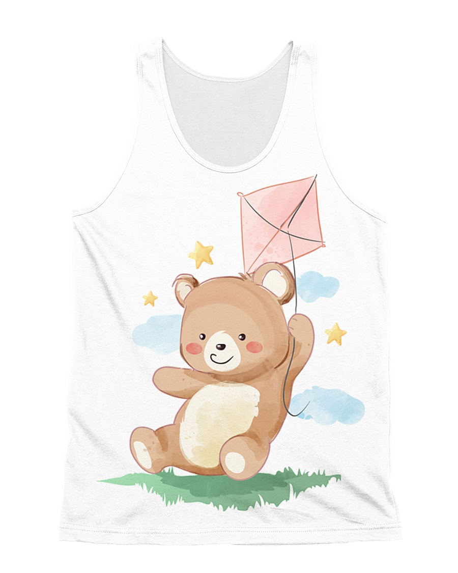 Funny animals bear watercolor-6 All-over Unisex Tank