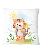 cat camping watercolor Square Pillowcase back
