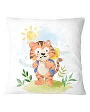 cat camping watercolor Square Pillowcase tile
