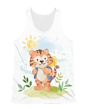 cat camping watercolor All-Over Unisex Tank tile